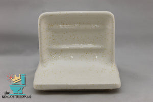 SD-1555 Vintage Ceramic White Soap Dish Gold Speckle Gloss