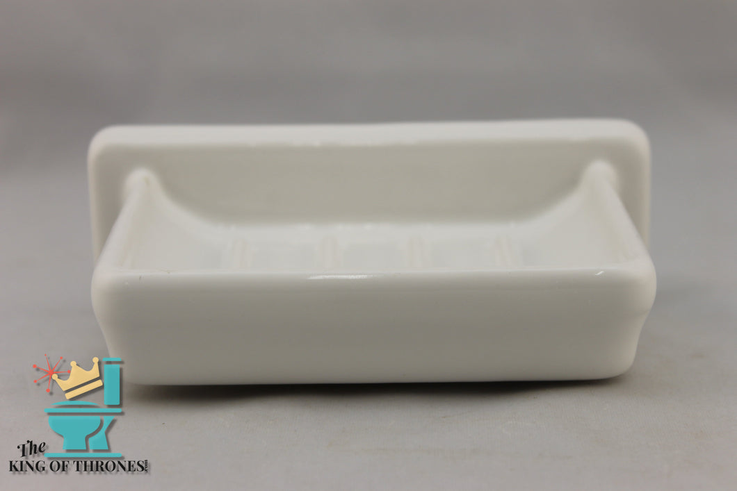 SD-1563AI Vintage Ceramic White Soap Dish Gloss