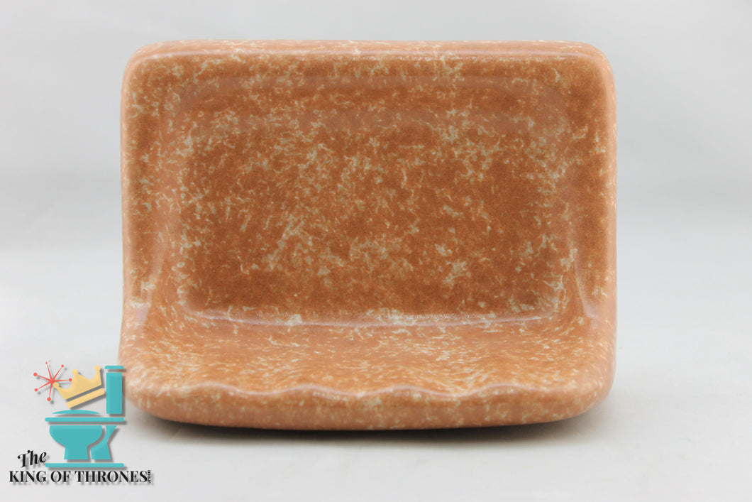 SD-1603 Vintage Ceramic Coral Peach Soap Dish Sponged Gloss
