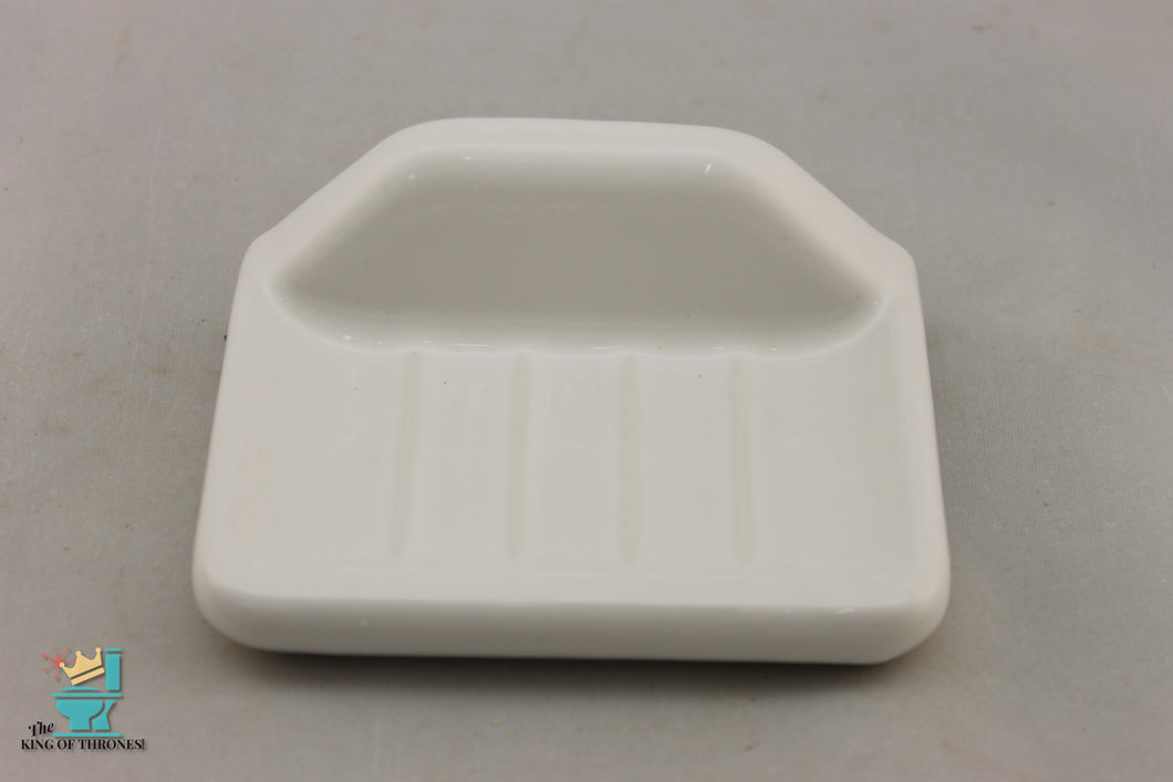 SD-1665 Vintage Ceramic White Soap Dish Gloss