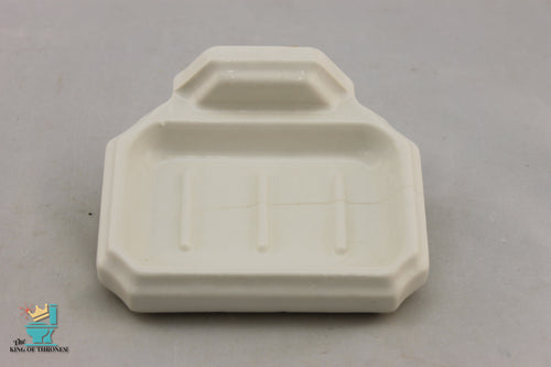 SD-1666AI Art Deco Ceramic White Soap Dish Gloss