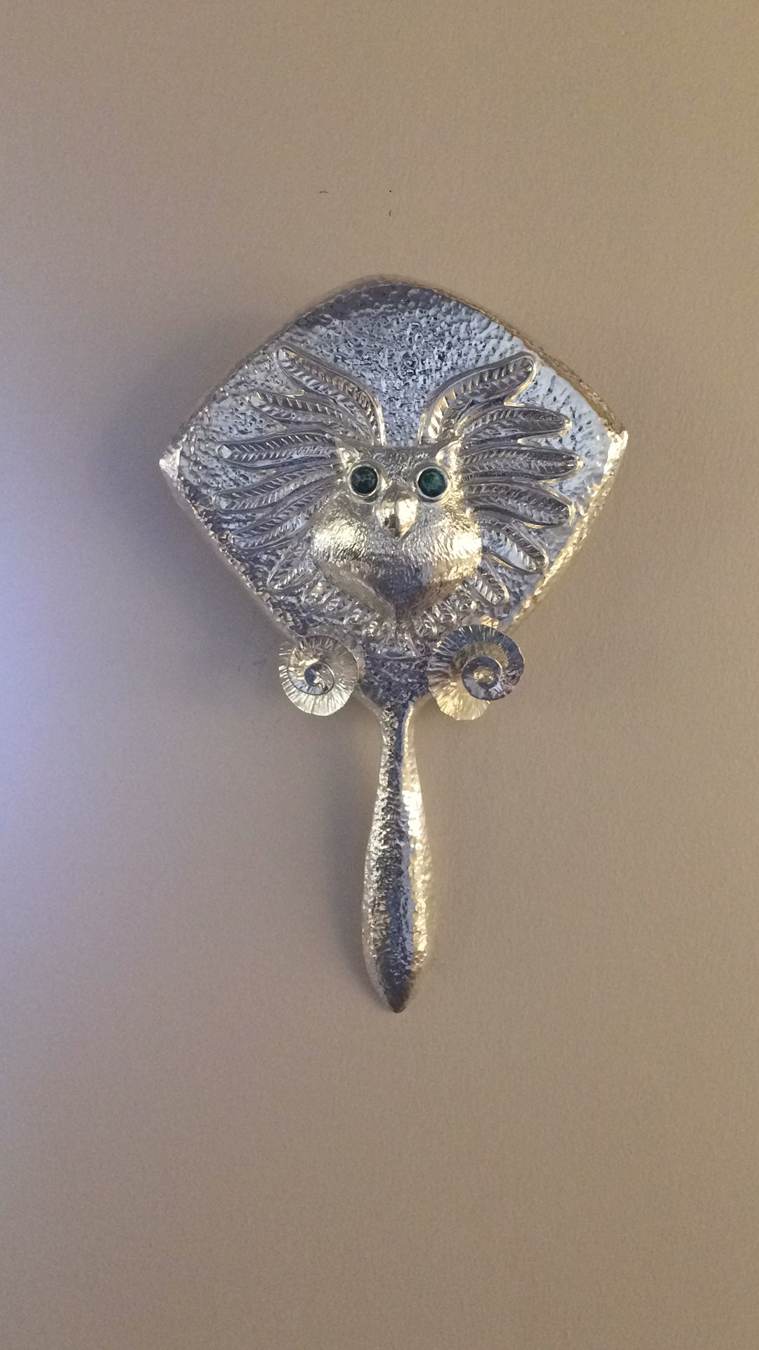 Repousse Owl Hand Held Mirror