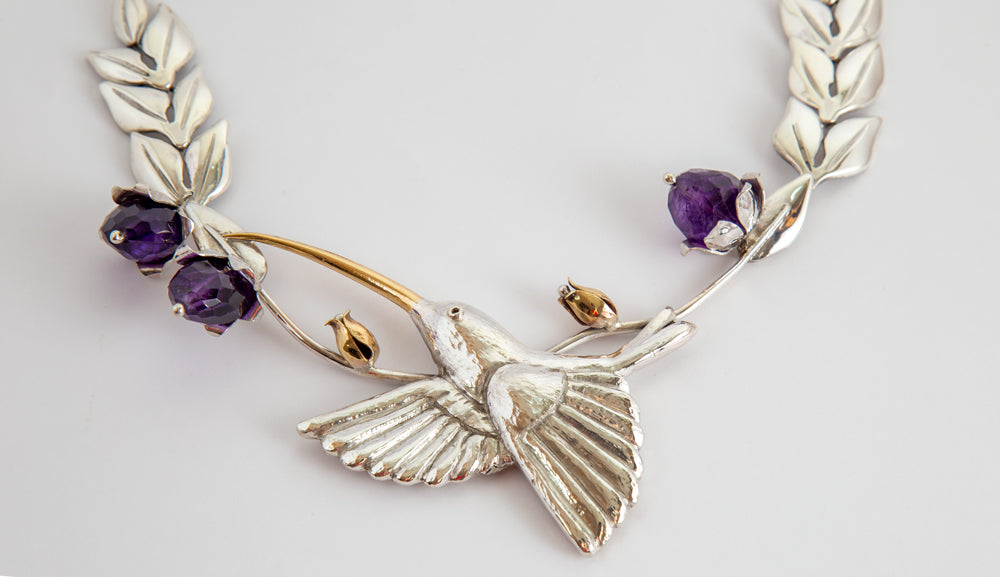 Hummingbird Necklace With Amethyst