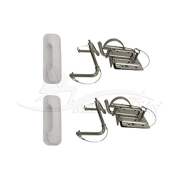 MARINE CITY Package Quick Release Snap Davits Set with White Handle pad for Inflatable Boats (1 Pair)