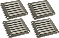 "MARINE CITY 316 Stainless-Steel 4-13/16"" × 5"" Rectangle Stamped Louvered Vent for Marine Yacht"