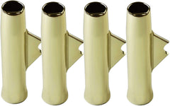 MARINE CITY Gold Powder Coating Aluminum Flared Weld-On White Vinyl Insert Fishing Rod Holder L: 10