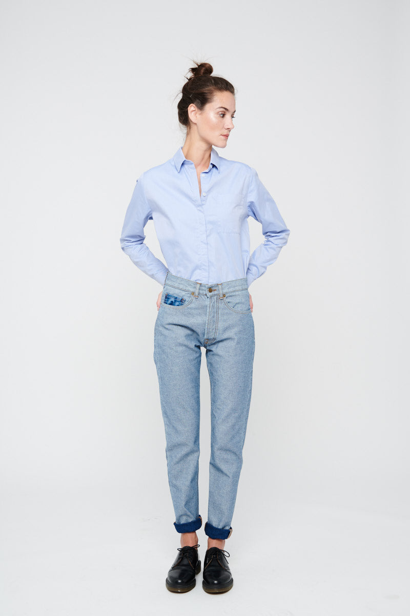 pantalon Reverso Blue Denim femme, AH19, de la marque Les Expatries, face