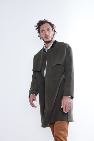manteau Sherlock Army Black, AH18, de la marque Les Expatries, face