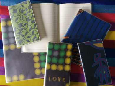 Upcycled notebooks  bound in African cloth