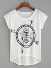 Load image into Gallery viewer, White Compass And Anchor Print High Low T-shirt
