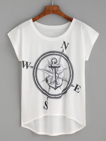 White Compass And Anchor Print High Low T-shirt