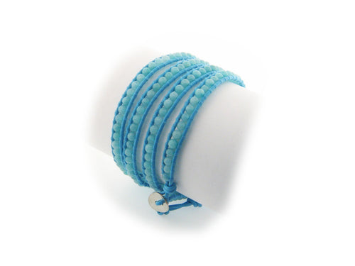 Bohemian Blue Leather Wrap Beaded Bracelet