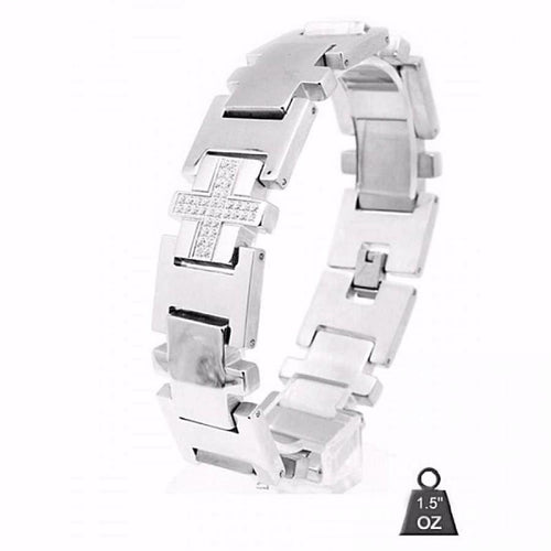 Men's Stainless Steel Crossbracelet with CZ