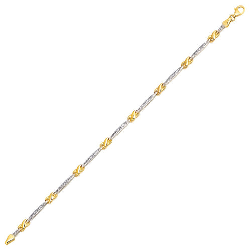 14k Two-Tone Gold Fancy Infinity Knot Line Bracelet