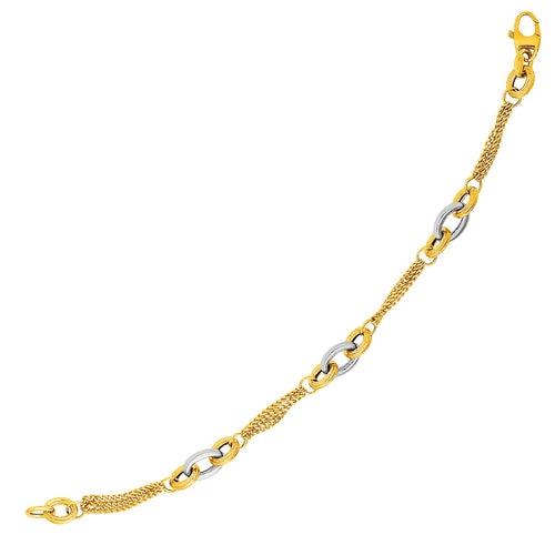 14k Two-Tone Yellow and White Gold Gourmette Bracelet with Links