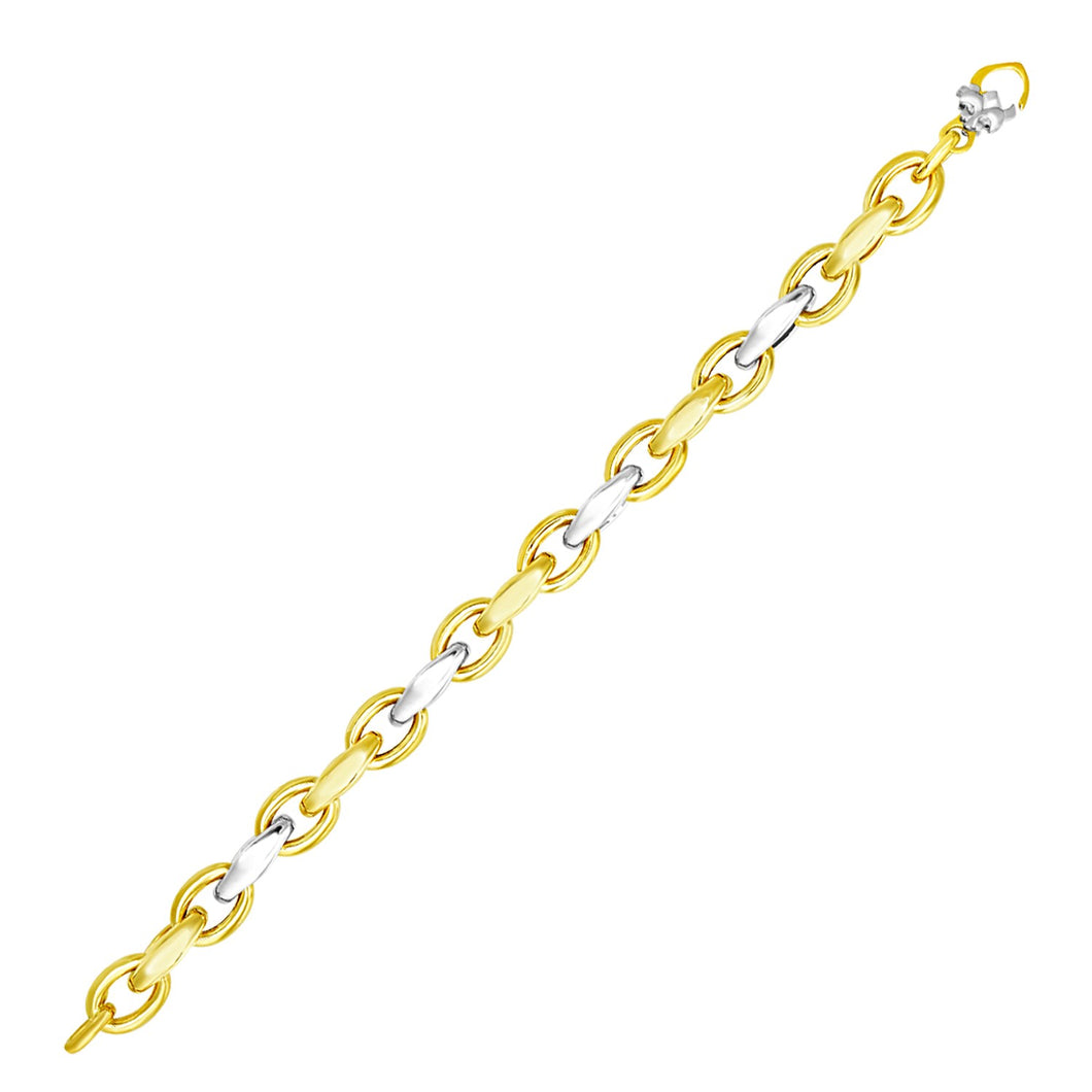 14k Two-Tone Gold Oval and Graduated Link Bracelet