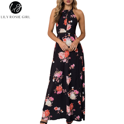 Lily Rosie Girl: Hollow Out, High Waist, Floral Print | Women's Black Backless split Maxi Dress