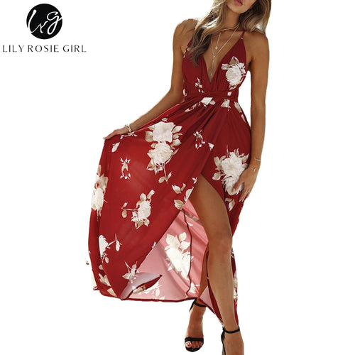 Lily Rosie Girl: Red Floral Print, Sexy V Neck, Women's Dresses, 2019