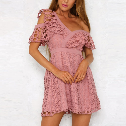 Lily Rosie Girl: Sexy Ruffle Short Sleeve Dress, Women's White Lace Mini, Sweet Pink Dresses