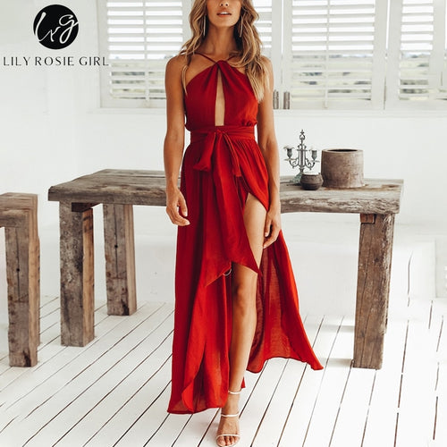 Lily Rosie Girl: Sleeveless Halter, Sexy Maxi Dresses 2019 Summer, Backless Party