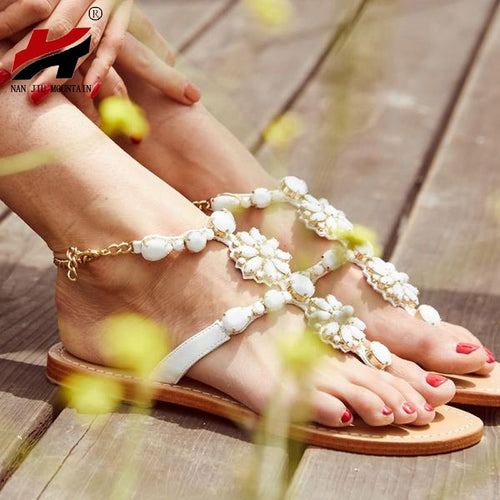 2019 Summer New Fashionable Comfortable Flat Sandals | Thong Rhinestone Roman Women's
