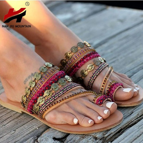 NAN JIU MOUNTAIN Shoes | Woman Handmade Bohemian Wind Flat Sandals