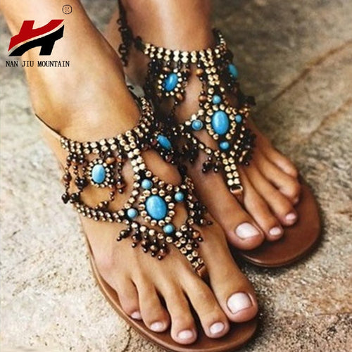 NAN JIU MOUNTAIN Shoes | Woman New Beaded Flat Sandals