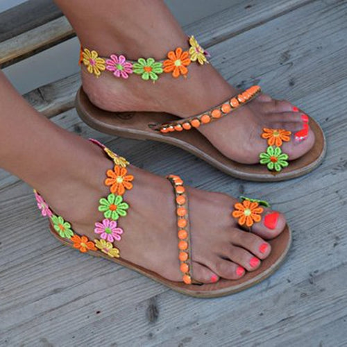 Tracey's Pick: Summer Flat Sandals | Women Bohemian Flowers Beaded Sandals