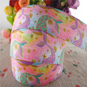 "Mermaid fish tail grosgrain ribbons 1"" 25mm 10 yards"