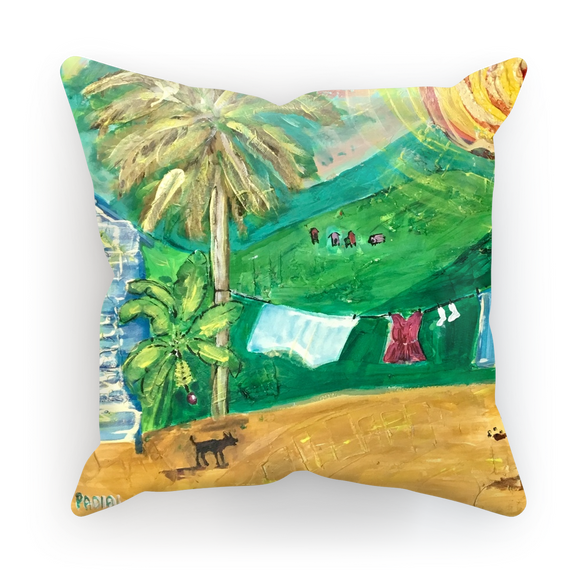 Yolanda Padial - Tendiendo la ropa al sol Sublimation Cushion Cover