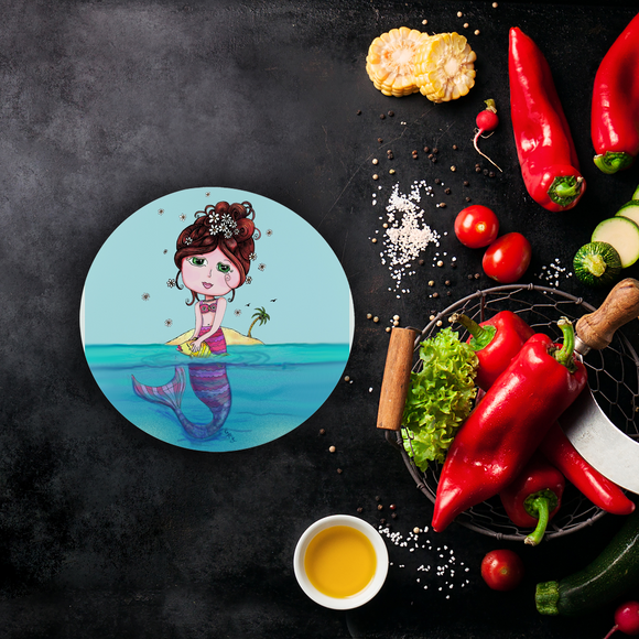 ANDREA MERMAID Gracious Gracie's Collection Sublimation Glass Cutting Board