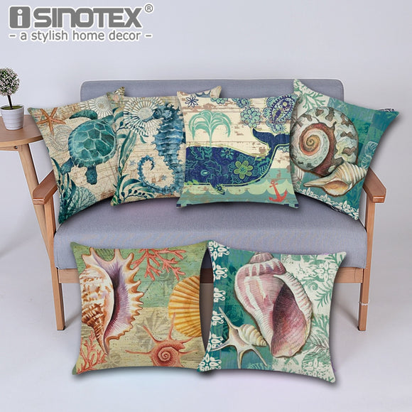 Vintage Nordic Ocean Cushion Cover 43cm