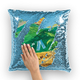 Yolanda Padial - Tendiendo la ropa al sol Sequin Cushion Cover