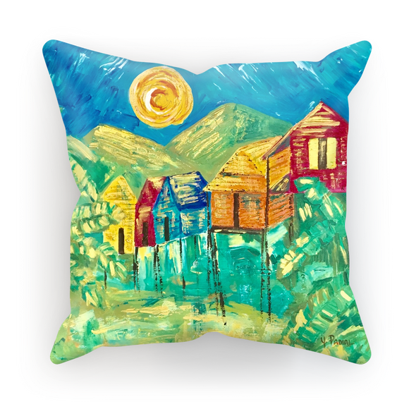 Yolanda Padial - Casitas tomando baño de sol Sublimation Cushion Cover