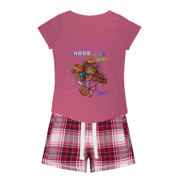 MERMAIDS HAVE MUCH MORE FUN Girls Sleepy Tee and Flannel Short