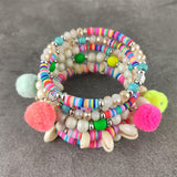 Natural Shell Beaded Coin Bracelets