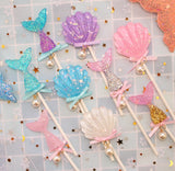 Glittering Mermaid Topper Decorations Kids Cupcake