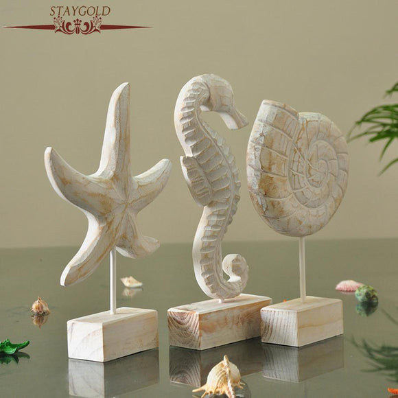 Wooden Crafts Starfish SeahorseConch Hippocampus