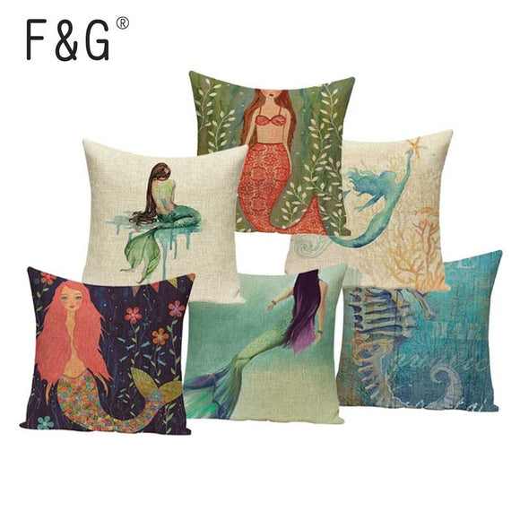 Mermaid Marine Style Cushion Covers