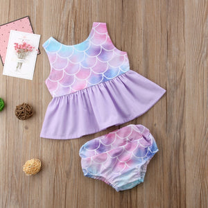 Baby Girl Sleeveless Romper Purple Mermaid