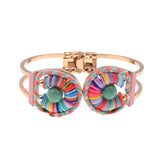 Natural Stone with Colorful Polymer Clay bangle
