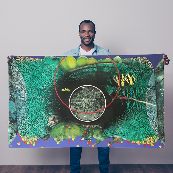 COMPOSICION MICROSCOPICA EN VERDE Y AZUL Sublimation Flag