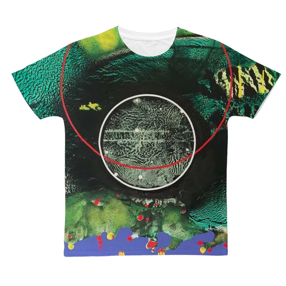 COMPOSICION MICROSCOPICA EN VERDE Y AZUL Classic Sublimation Adult T-Shirt