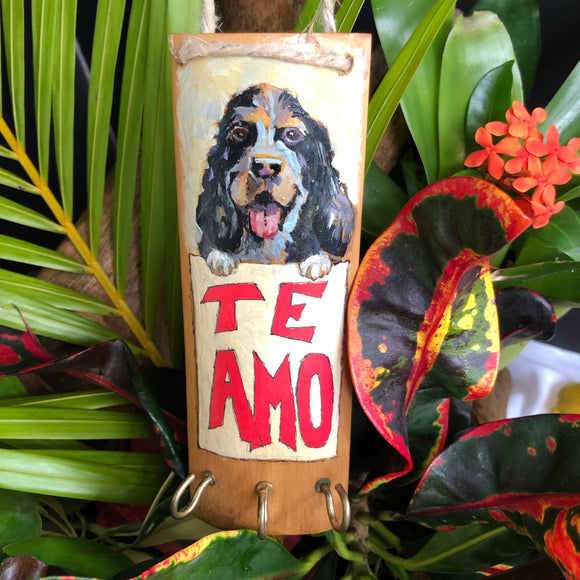 Artesanía - Te amo keys holder (black dog)