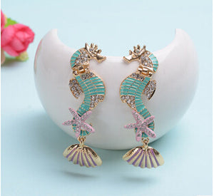 Gorgeous colourful seahorses earrings