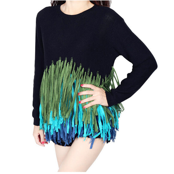 Tassels Long Sleeve Knitted Sweater Top