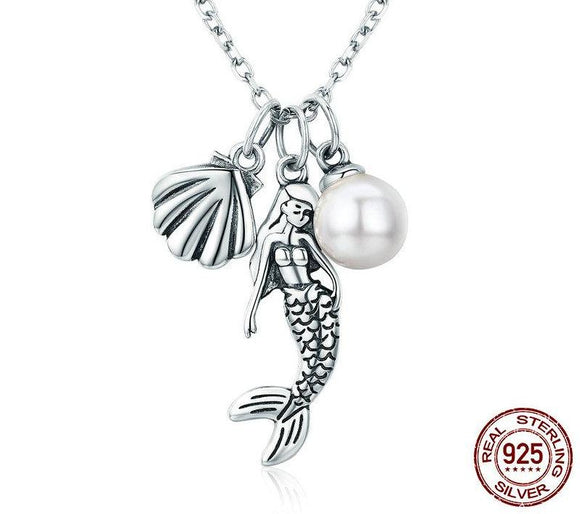 925 Sterling Silver Mermaid Shell Pendant Necklaces