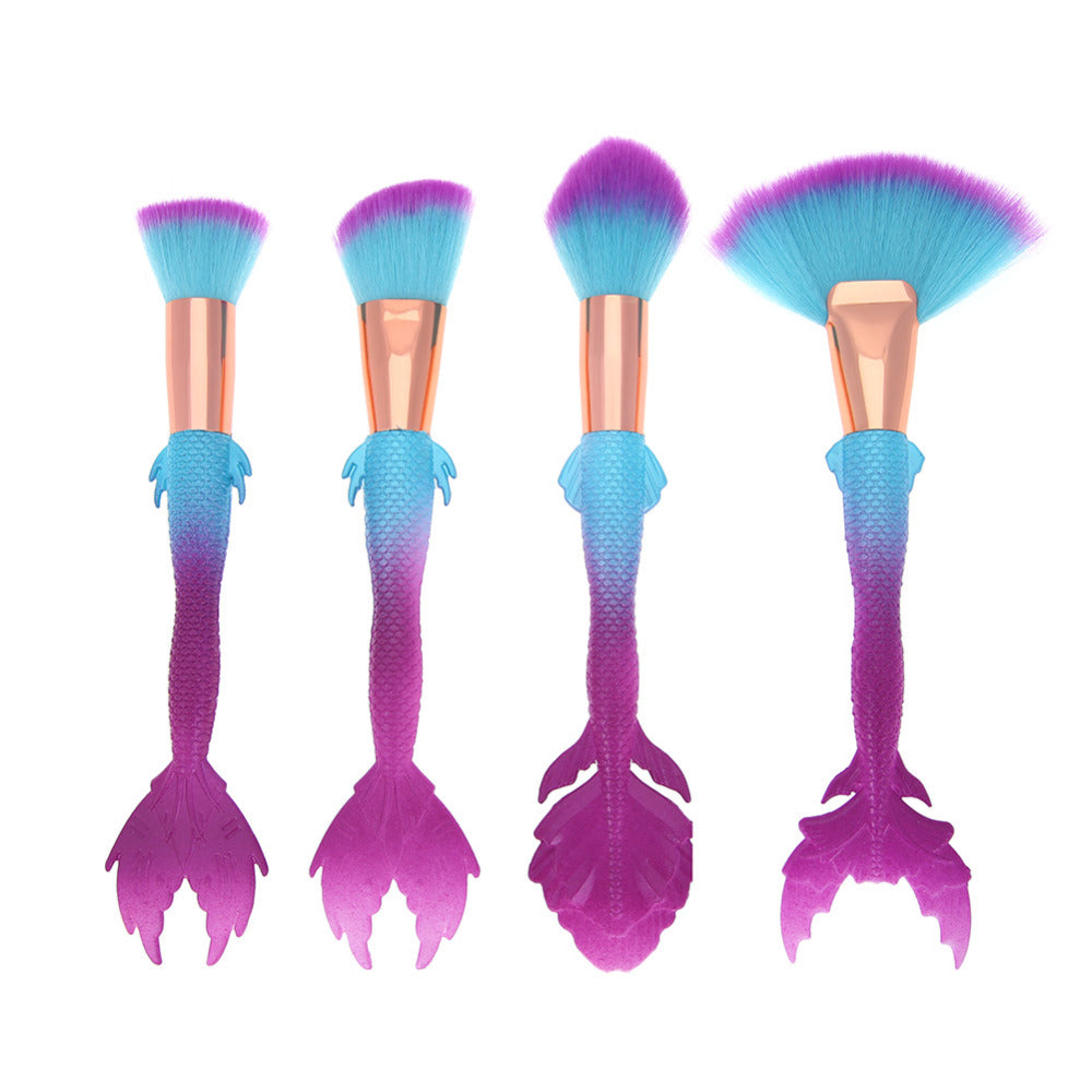 4Pcs Mermaid Elegant Makeup Brushes
