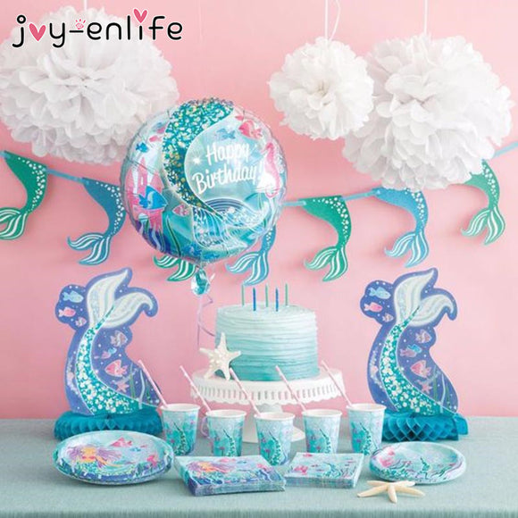 Mermaid Birthday Party Tableware Set