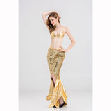 Mermaid Tail Sequins Dress Green Gold